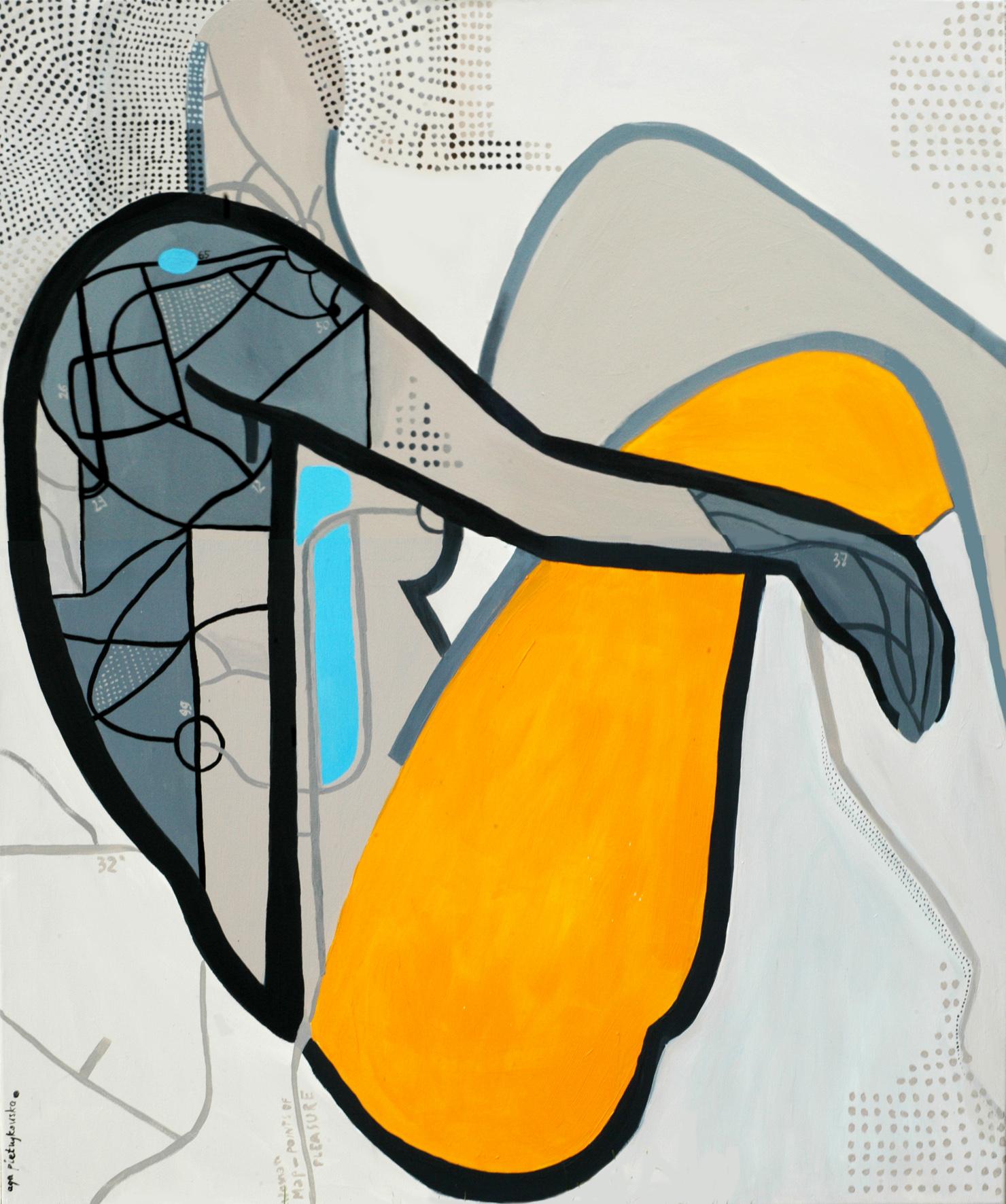 """Agnieszka Pietrzykowska, """"Map of pleasure points"""", 2014, akryl, płótno, 120x100 cm (źródło: materiały prasowe)"""