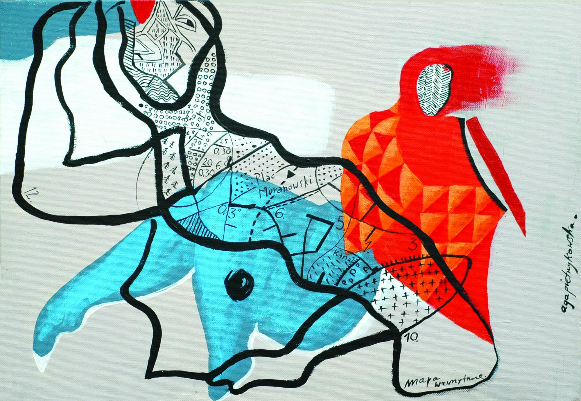 """Agnieszka Pietrzykowska, """"Mapa życia"""", 2014, akryl, olej, tusz, 30x40 cm (źródło: materiały prasowe)"""