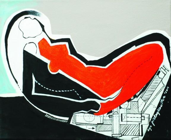 """Agnieszka Pietrzykowska, """"Mechaniczna pomarańcza"""", 2014, akryl, olej, tusz, płótno, 35x28 cm (źródło: materiały prasowe)"""