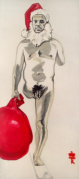 """The Krasnals, """"Autoportret Whielkiego Krasnala. Niepełnosprawny święty Mikołaj pędzący z pełnym worem prezentów pod chujinkę. Artur Żmijewski"""", 2009 (źródło: materiały prasowe organizatora)"""