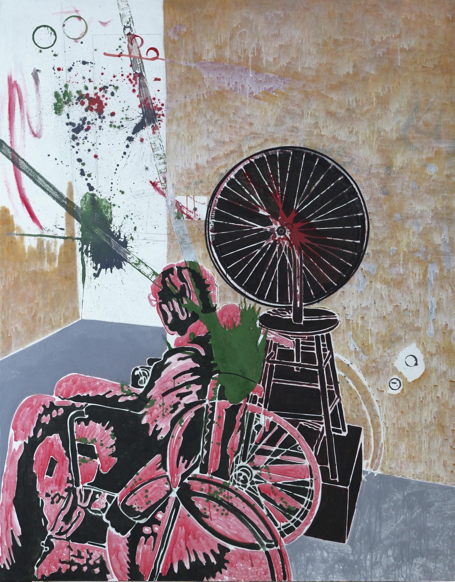 """Marek Sobczyk, """"Co? Marcel Duchamp; Czym? Duchem w muzeum (Koło rowerowe 1913–2013)"""", 2015, 230x180cm, tempera jajkowa / płótno (źródło: materiały prasowe organizatora)"""