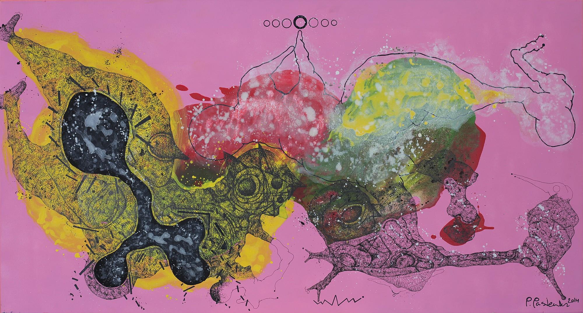 "Piotr Pasiewicz, ""Mattery Deliverance VI"", 2013, 70x130 cm, technika mieszana na płótnie (źródło: materiały prasowe organizatora)"