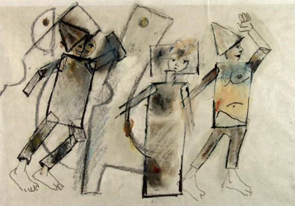"""Tadeusz Kantor, """"Grabiec, Goplana, Balladyna"""", projekt do spektaklu """"Balladyna"""", lata 80., Kolekcja A, depozyt w Muzeum Narodowym w Krakowie (źródło: materiały organizatora)"""