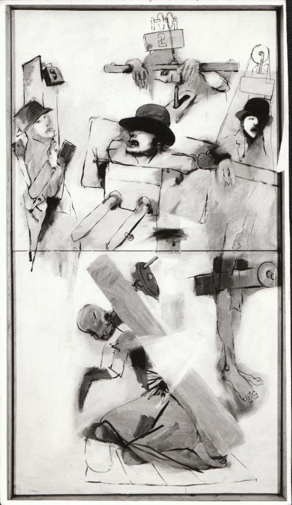 """Tadeusz Kantor, """"Świętoszka"""", obraz do spektaklu """"Niech sczezną artyści"""", Teatr Cricot 2, 1985, Stedelijk Museum voor Actuele Kunst, Gent (źródło: materiały organizatora)"""