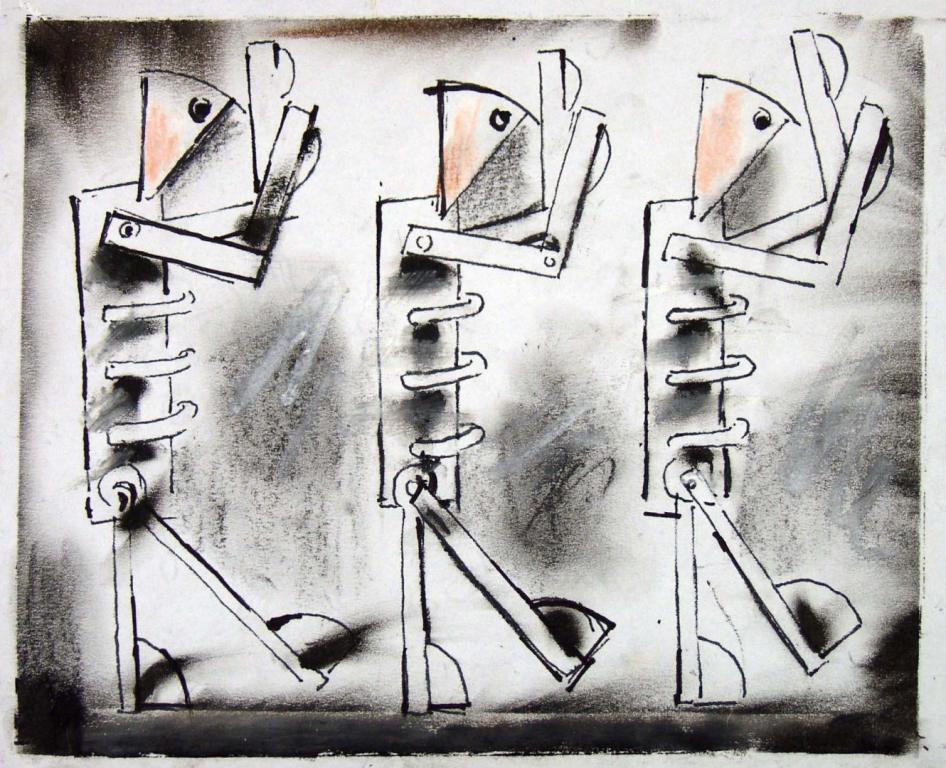 """Tadeusz Kantor, """"Służące"""", projekt do spektaklu """"Maszyna Miłości i śmierci"""", 1987, własność prywatna, depozyt w Muzeum Narodowym w Krakowie (źródło: materiały organizatora)"""
