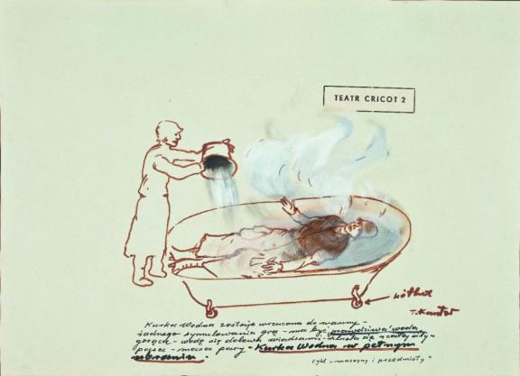 """Tadeusz Kantor, """"Kurka wodna w pełnym ubraniu"""", 1967, z cyklu: """"Maszyny i przedmioty"""", projekt do spektaklu """"Kurka wodna"""", Teatr Cricot 2, 1967, Muzeum Narodowe we Wrocławiu (źródło: materiały organizatora)"""