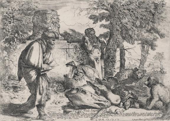 """""""Diogenes szukający człowieka"""", Giovanni Benedetto Castiglione, Rzym, 1645–1650, akwaforta, ze zbiorów Gabinetu Rycin PAU w Bibliotece Naukowej PAN i PAU w Krakowie (źródło: materiały prasowe)"""