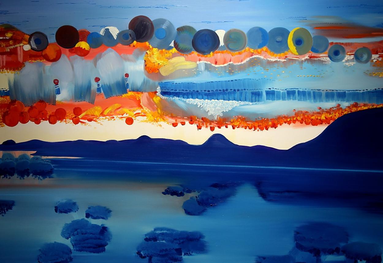 """Alicja Łukasiak, Grzegorz Drozd, """"13 słońc"""", 2014, olej na płótnie, 200x140 cm (źródło: materiały prasowe)"""