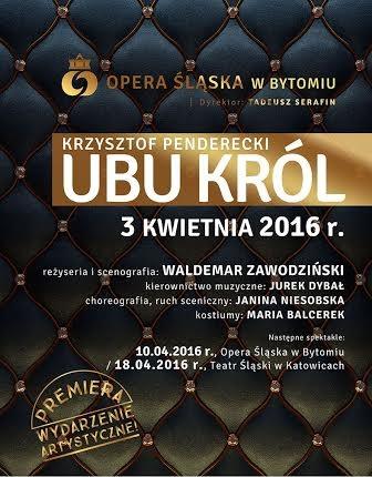 """Krzysztof Penderecki, """"Ubu Król""""– plakat (źródło: materiały prasowe organizatora)"""