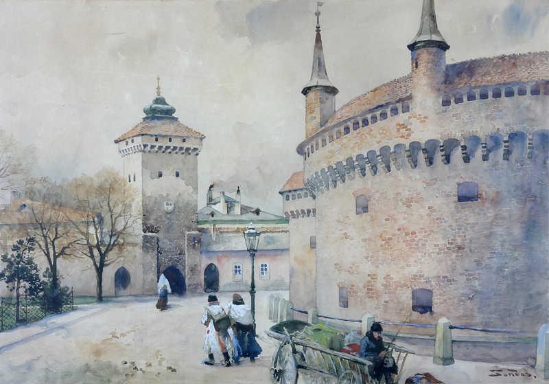 Widok Bramy Floriańskiej i Barbakanu od strony północno –wschodniej, Tondos Stanisław (1854-1917) Kraków ok. 189