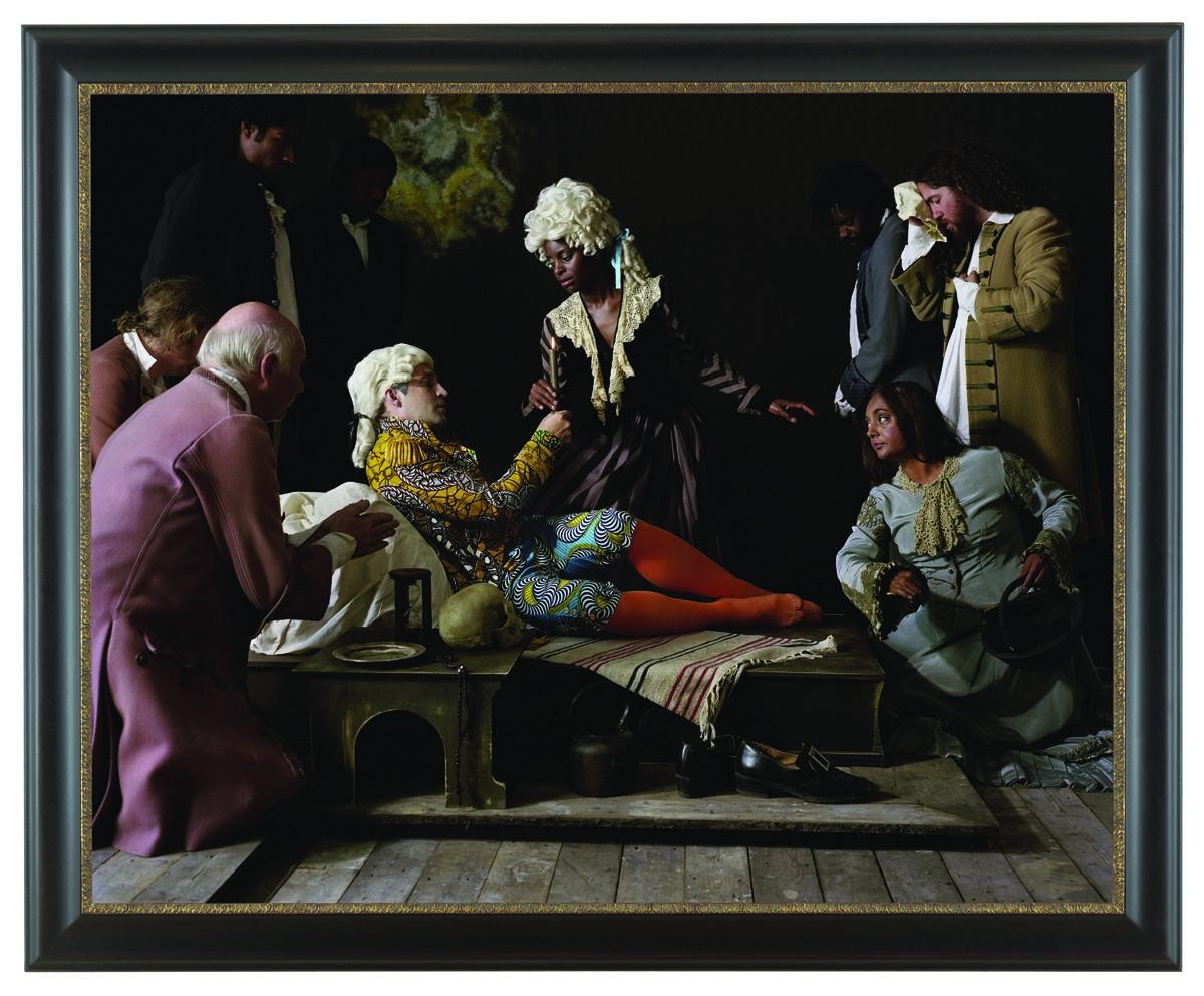"""Yinka Shonibare, """"Fake Death Picture (The Death of St Francis – Bartolomé Carducho)"""", 2011 fotografia © Muzeum Współczesne Wrocław (źródło: materiały prasowe organizatora)"""
