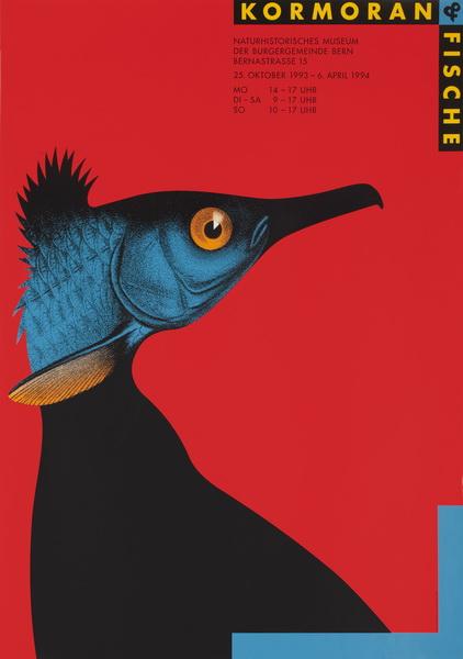 """Claude Kuhn, """"Kormoran i ryba"""", 1993. Srebrny medal na 14. Międzynarodowym Biennale Plakatu w 1994 roku (źródło: materiały prasowe organizatora)"""
