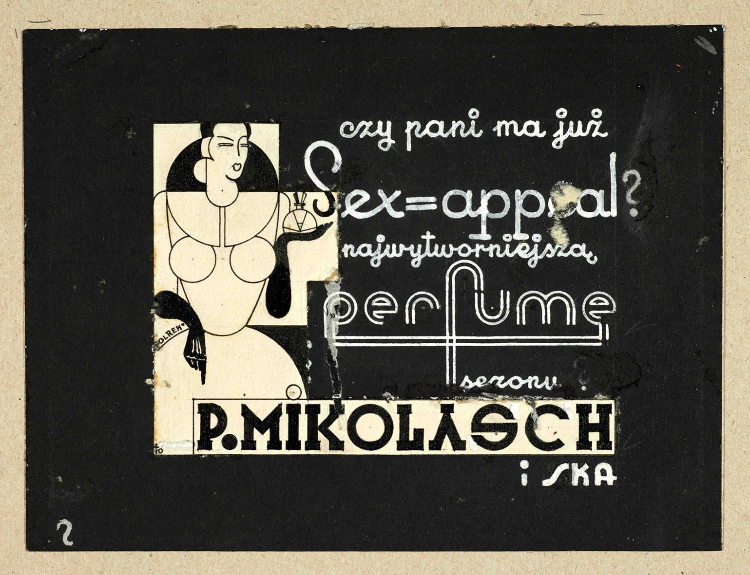 """Tadeusz Teodorowicz-Todorowski, projekt reklamy perfum """"Sex-appeal"""", 1934, tusz i ołówek na kartonie, zbiory Muzeum Architektury we Wrocławiu (źródło: materiały prasowe organizatora)"""