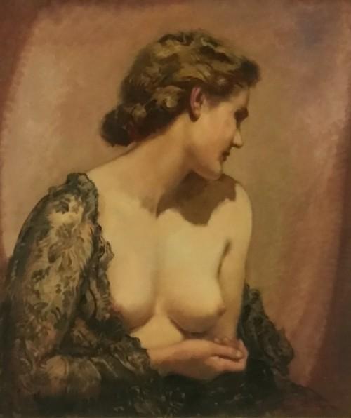 """Artykwariat, Ernst Liebermann, """"Akt kobiety w etoli z czarnej koronki"""" (źródło: materiały prasowe organizatora)"""