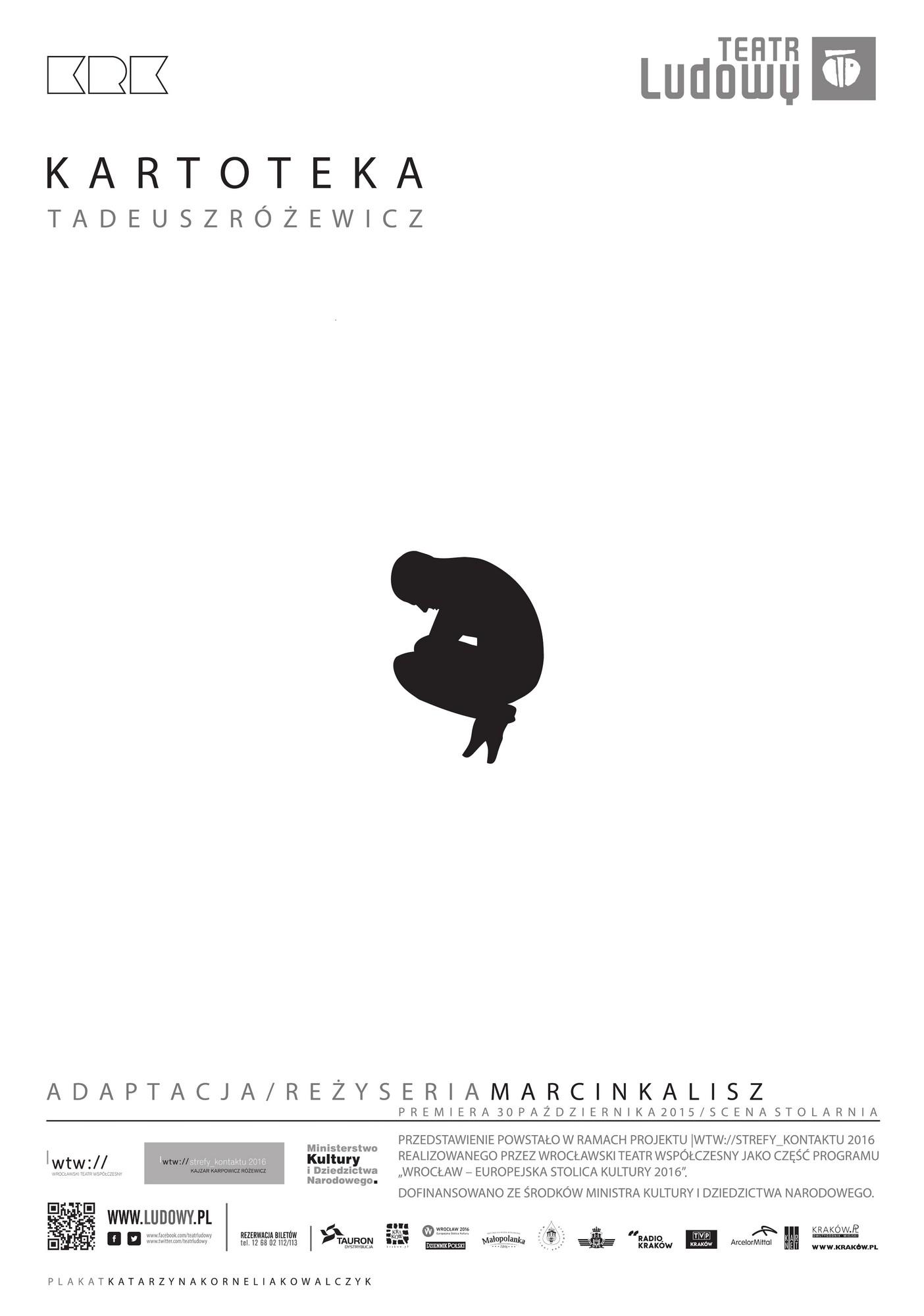 """Tadeusz Różewicz: """"Kartoteka"""", reż. Marcin Kalisz, plakat (źródło: materiały prasowe WTW)"""