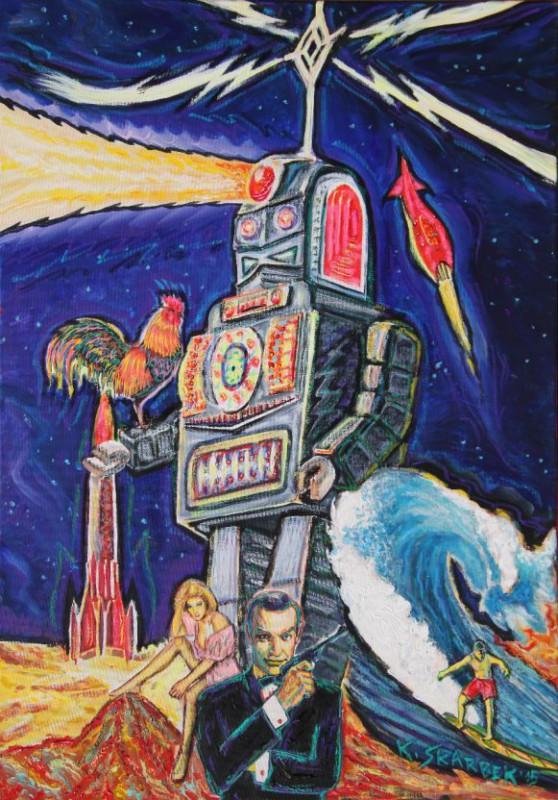 """Krzysztof Skarbek, """"Kosmiczny robot oświetla zaproszonym gościom przestrzeń do rekreacji"""", 2015–2016 (źródło: materiały prasowe organizatora)"""