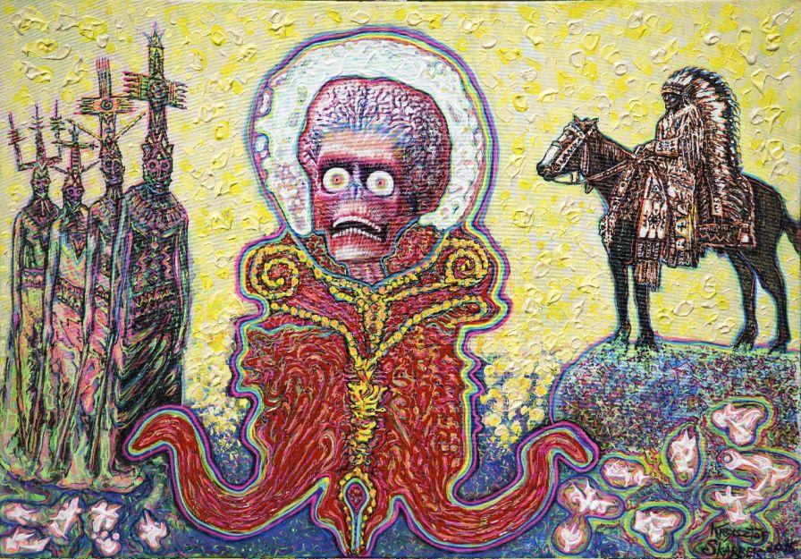 """Krzysztof Skarbek, """"Król Marsjan uczestniczy w indiańskim święcie"""", 2015–2016 (źródło: materiały prasowe organizatora)"""