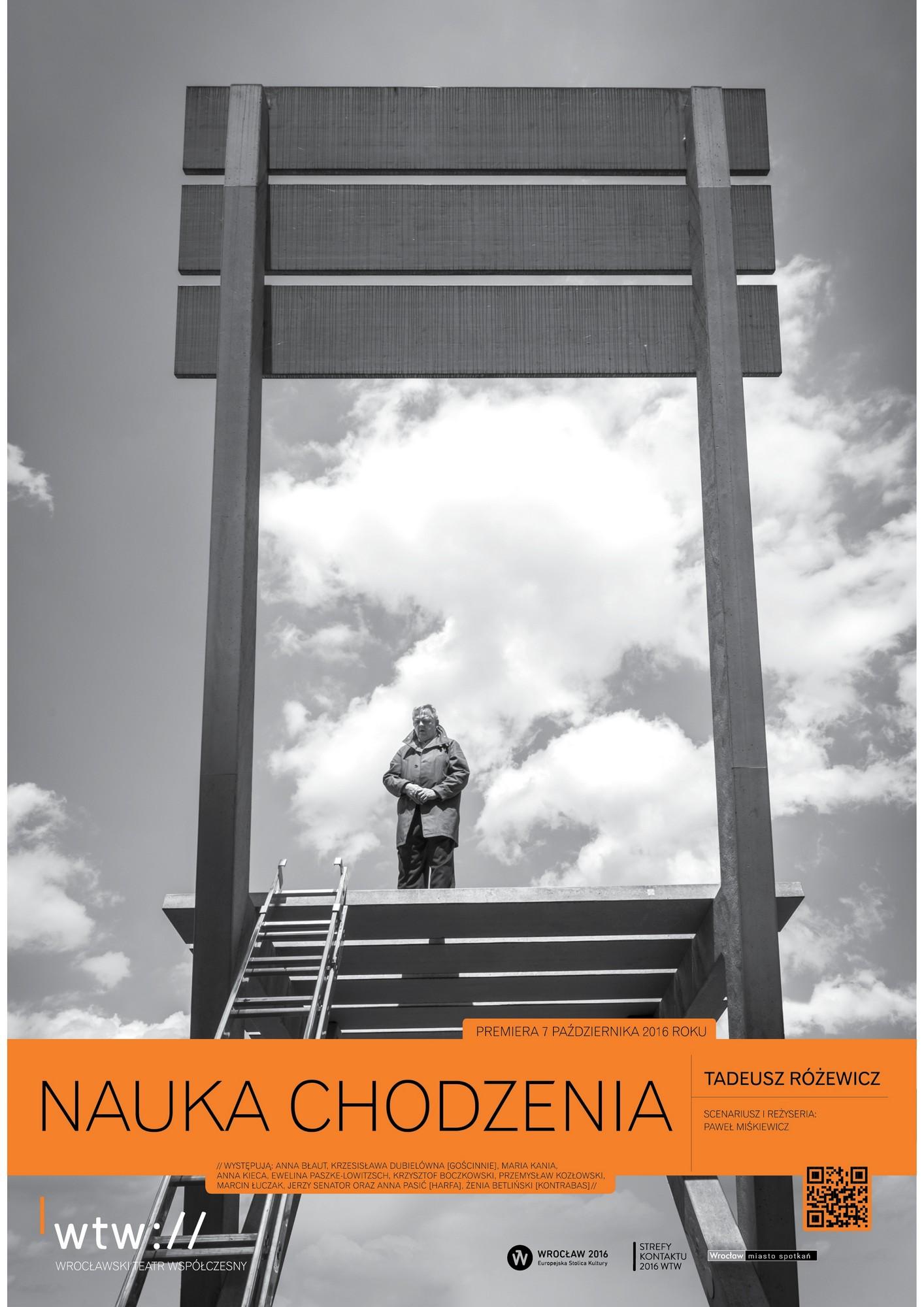 """Tadeusz Różewicz: """"Nauka chodzenia"""", reż. Paweł Miśkiewicz, plakat (źródło: materiały prasowe WTW)"""