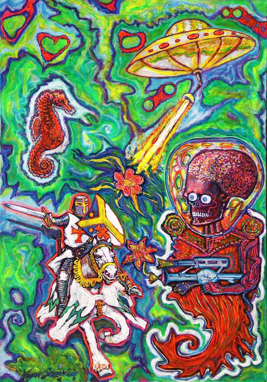 """Krzysztof Skarbek, """"Obcy zachęca rycerza do ciekawej gry strzelając kwiatami"""", 2015–2016 (źródło: materiały prasowe organizatora)"""