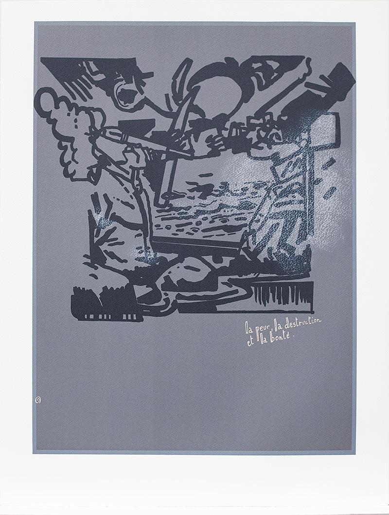 """""""La peur, la destruction, la bonté"""", litografia, seria 30 prac na papierze BFK Rives © Jean-Michel Alberola, 2013. Dzięki uprzejmości Item editions w Paryżu (źródło: materiały prasowe organizatora)"""