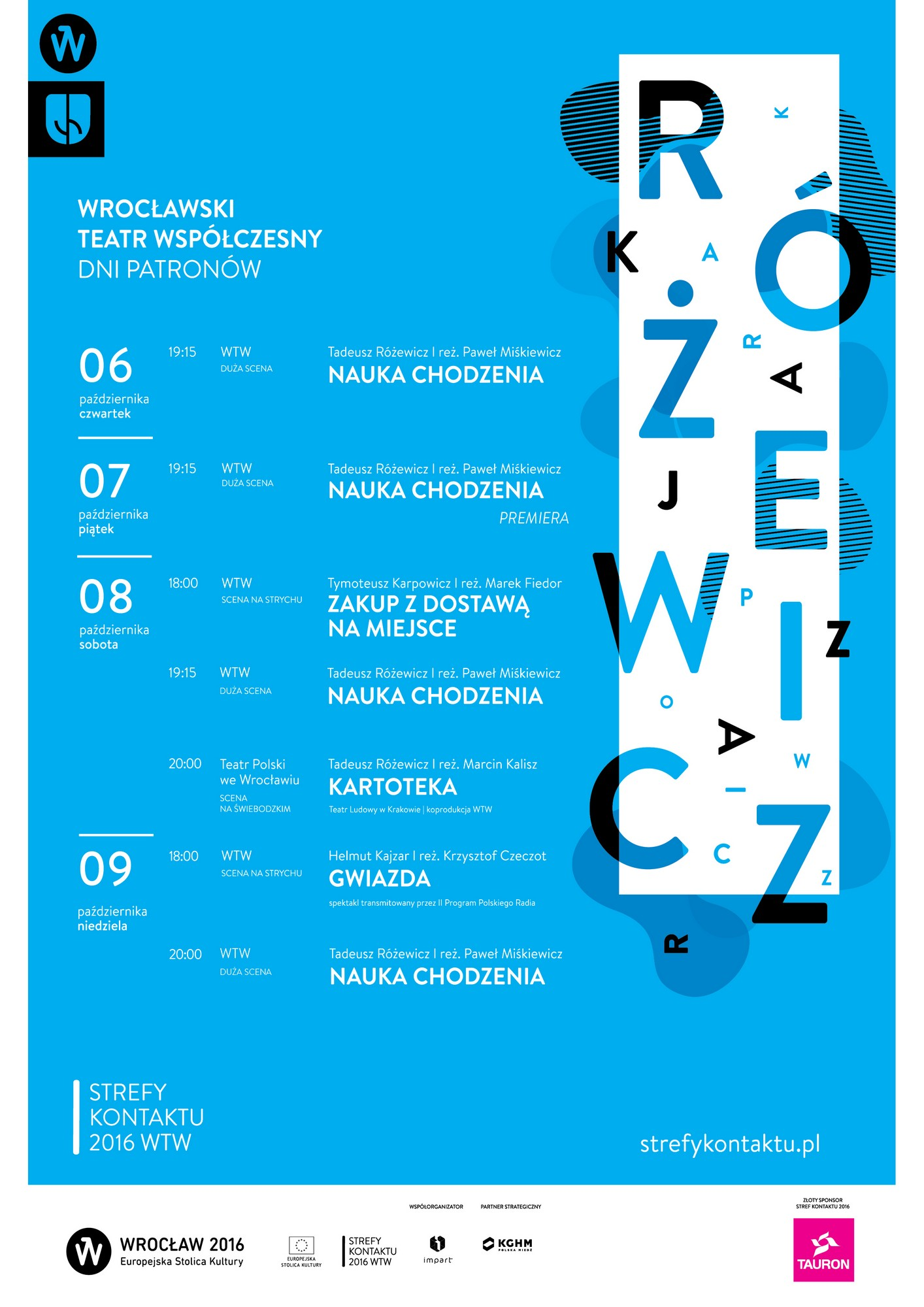 Strefy Kontaktu 2016: Dni Patronów, plakat (źródło: materiały prasowe WTW)