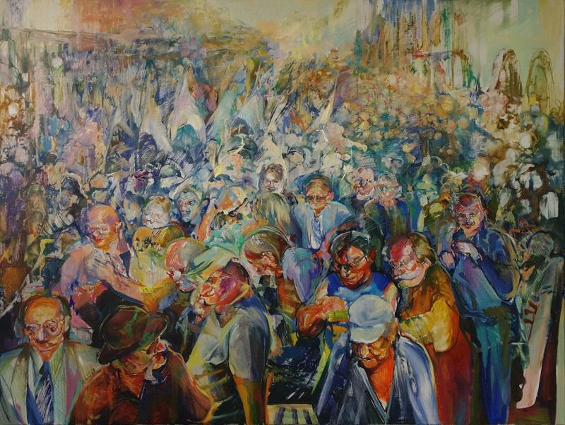 """Beata Bigaj, """"Tłum"""", 2016, olej na płótnie, 120 x 160 cm (źródło: materiały prasowe organizatora)"""