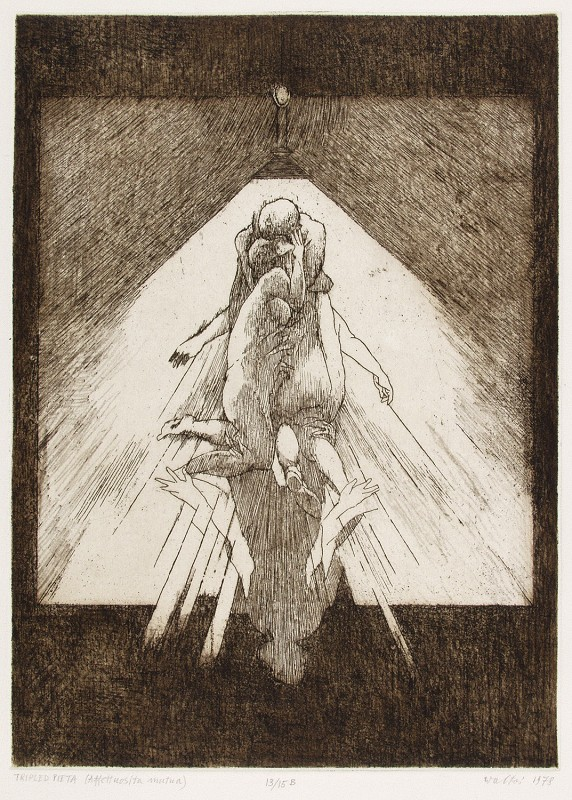 """Jacek Waltoś, """"Współczułość (Pieta w trójnasób)"""", 1978, akwaforta, miękki werniks, 29.5 x 21,5 cm (źródło: materiały prasowe organizatora)"""