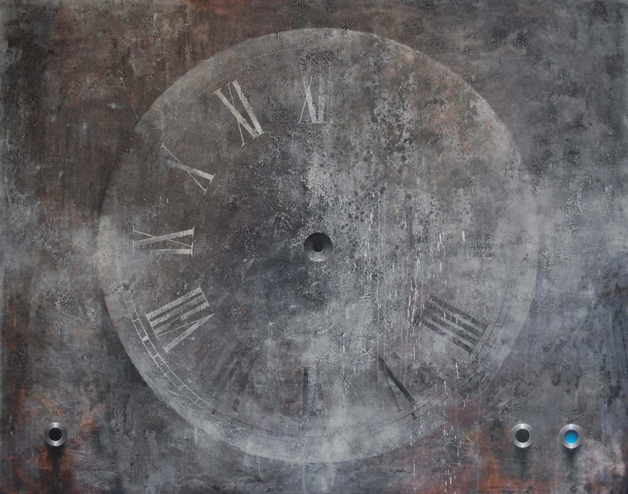 """Daniel Krysta, """"Chrono2"""", 2016, 120 x1 50 cm, technika mieszana, płótno (źródło: materiały prasowe organizatora wystawy)"""