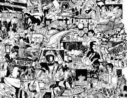 """Mariusz Tarkawian, """"Adolescencja"""" (fragment),2016, marker akrylowy, papier, dzięki uprzejmości artysty (źródło: materiały prasowe organizatora)"""