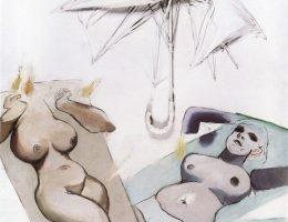 """Tadeusz Kantor, """"Emballage, przedmioty, postacie nr 4"""", 1968, olej, parasol, płótno, wł. Muzeum Sztuki w Łodzi (źródło: materiały prasowe organizatora)"""