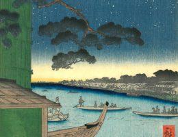 """Utagawa Hiroshige """"Sosna Subi-no matsu [szczęśliwe zakończenie] wybrzeże Ommayagashi nad rzeką Asakusagawa"""" 1856 (źródło: materiały prasowe organizatora)"""