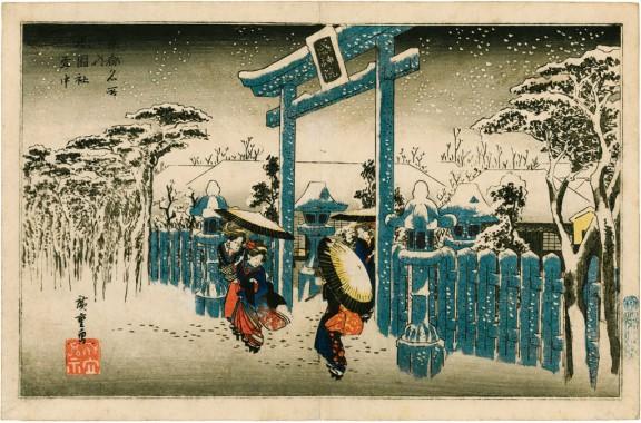"""Utagawa Hiroshige """"Świątynia Gion w śniegu"""" (źródło: materiały prasowe organizatora)"""