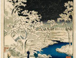 """Utagawa Hiroshige """"Most Taikobashi i wzgórze Yuhinooka w Meguro"""" (źródło: materiały prasowe organizatora)"""