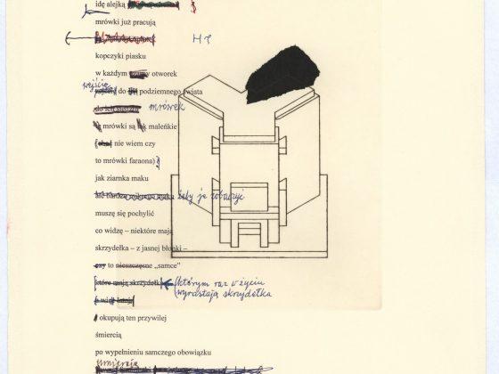 """Eugeniusz Get Stankiewicz, Tadeusz Różewicz, teka """"cd. Nauki chodzenia"""", 20 kart, technika mieszana, 2006–2008, Karta 1 (źródło: materiały prasowe organizatora)"""