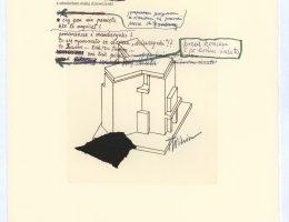 """Eugeniusz Get Stankiewicz, Tadeusz Różewicz, teka """"cd. Nauki chodzenia"""", 20 kart, technika mieszana, 2006–2008, Karta 20 (źródło: materiały prasowe organizatora)"""