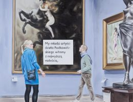 """Marcin Maciejowski, """"My, młodzi artyści…"""", 2014, olej / płótno, 180 × 140 cm, Kolekcja MOCAK-u (źródło: materiały prasowe organizatora)"""