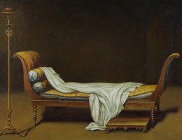 """Shinji Ogawa, """"Madame Récamier"""", https://ownetic.com/wydarzenia/wp-content/uploads/2009/2011, akryl/płótno,sklejka. 21 × 30 cm, Kolekcja MOCAK-u (źródło: materiały prasowe organizatora)"""