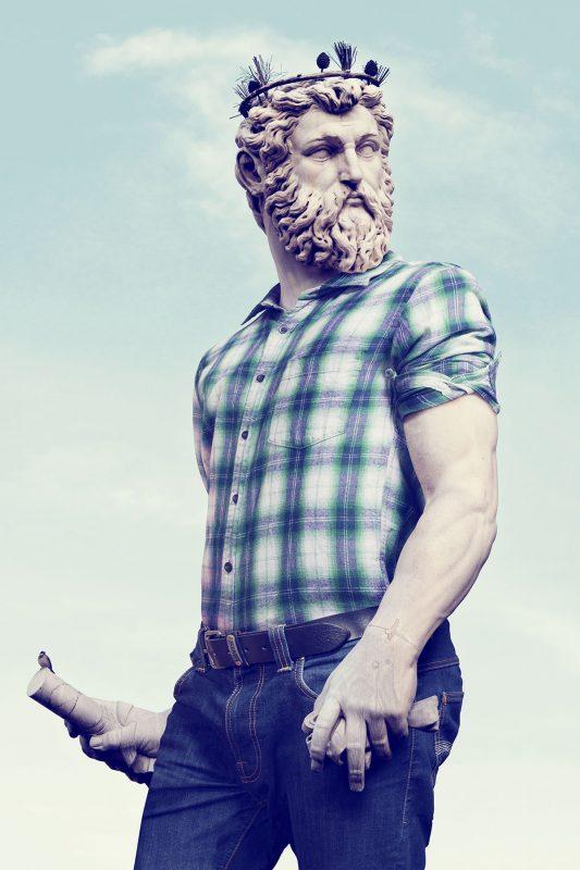 """Léo Caillard, z cyklu """"Hipsterzy z kamienia"""", 2013, fotografia, 120 × 180 cm, dzięki uprzejmości L. Caillard (źródło: materiały prasowe organizatora)"""