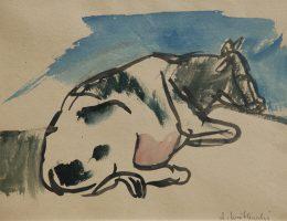 """Andrzej Wróblewski, """"Krowa"""", akwarela, papier, fot. Filip Klin (źródło: materiały prasowe organizatora)"""