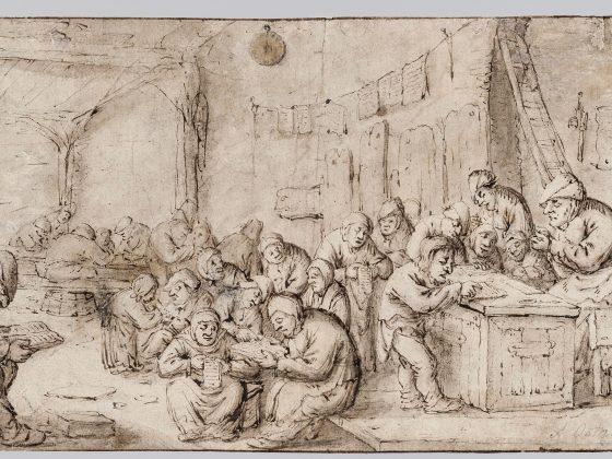 """Bartholomeus Molenaer, """"Wiejska szkoła z nauczycielem ostrzącym pióro"""", ok. 1635–1650 (źródło: materiały prasowe organizatora)"""