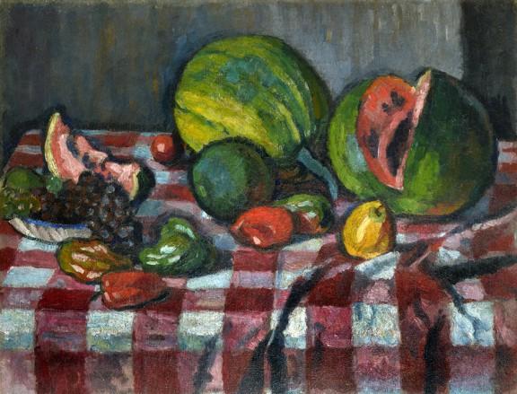 """Józef Pankiewicz, """"Martwa natura – kawony i winogrona"""", 1909, olej, płótno, fot. Archiwum właściciela kolekcji, © fot. Janusza Kozina (źródło: materiały prasowe organizatora)"""