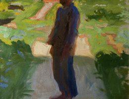 """Wojciech Weiss, """"W ogrodzie o zmierzchu"""", ok. 1900, olej, karton, fot. Archiwum właściciela kolekcji, © fot. Janusza Kozina (źródło: materiały prasowe organizatora)"""