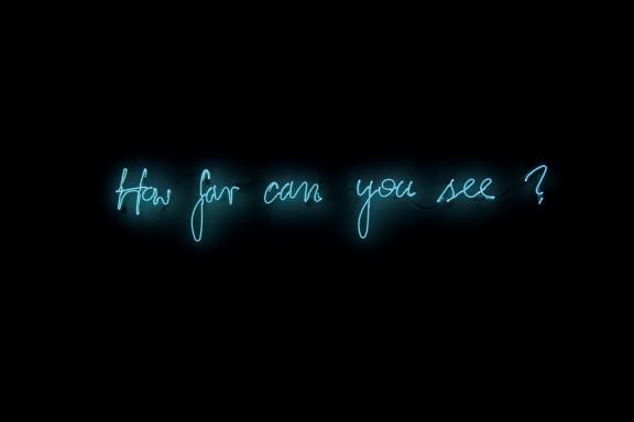 """Michał Martychowiec, """"How far can you see"""", 2013, neon, wymiary różne Dzieki uprzejmości Signum Foundation (źródło: materiały prasowe organizatora)"""