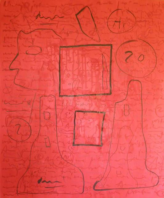 """Grzegorz Wróblewski, """"Asemic writing. Red"""", akryl, tusz na płótnie, 120x100 cm (źródło: materiały prasowe organizatora)"""
