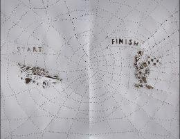 """Bogusław Bachorczyk, """"Start–Finish – dyptyk"""", 2006, papier, perforacja, 190x220 cm (źródło: materiały prasowe organizatora)"""