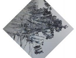 """Łukasz Konieczko, z cyklu """"Realność obrazu Nr 7"""", 2017, olej na płótnie, 197x197 cm po obrysie zewnętrznym (źródło: materiały prasowe organizatora)"""