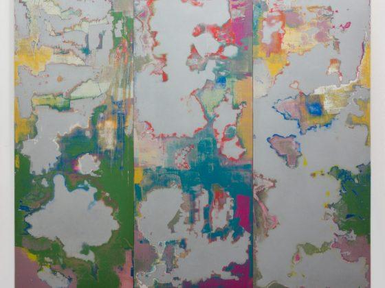 """Małgorzata Pawlak, """"Zdrapany"""", 2017, 150 x 150 cm, akryl na sklejce (źródło: materiały prasowe organizatora)"""