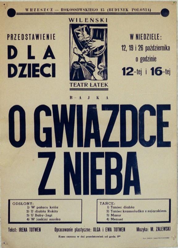 Afisz Wileńskiego Teatru Łątek, 1947 (źródło: materiały prasowe organizatora)