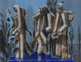 """Daniel Balaban, """"Mieszkancy Calais"""", 2006, akryl / płótno, 150 x 180 cm (źródło: materiały prasowe organizatora)"""
