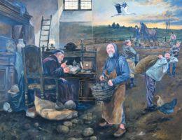 """Dariusz Miliński, """"Naukowcy i Kartoflarze"""", 2017, olej na płótnie, 160×130 (źródło: materiały prasowe organizatora)"""
